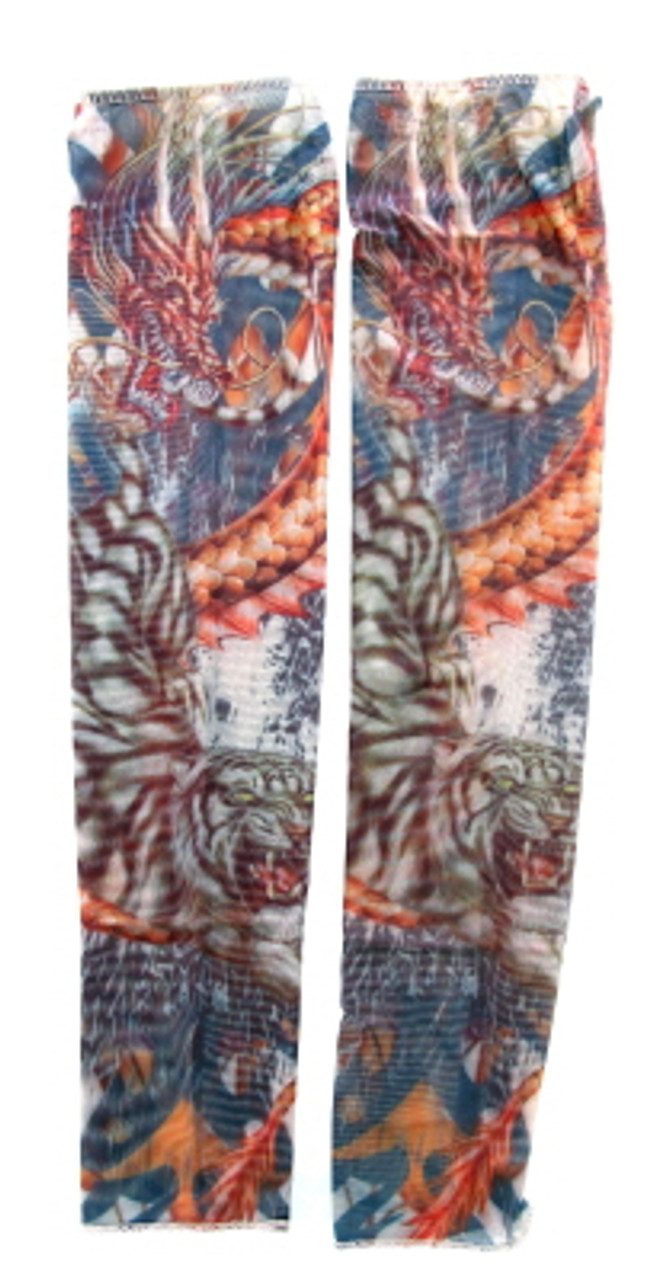 Wearable sleeve with tiger and dragon print tattoo design TTSL10