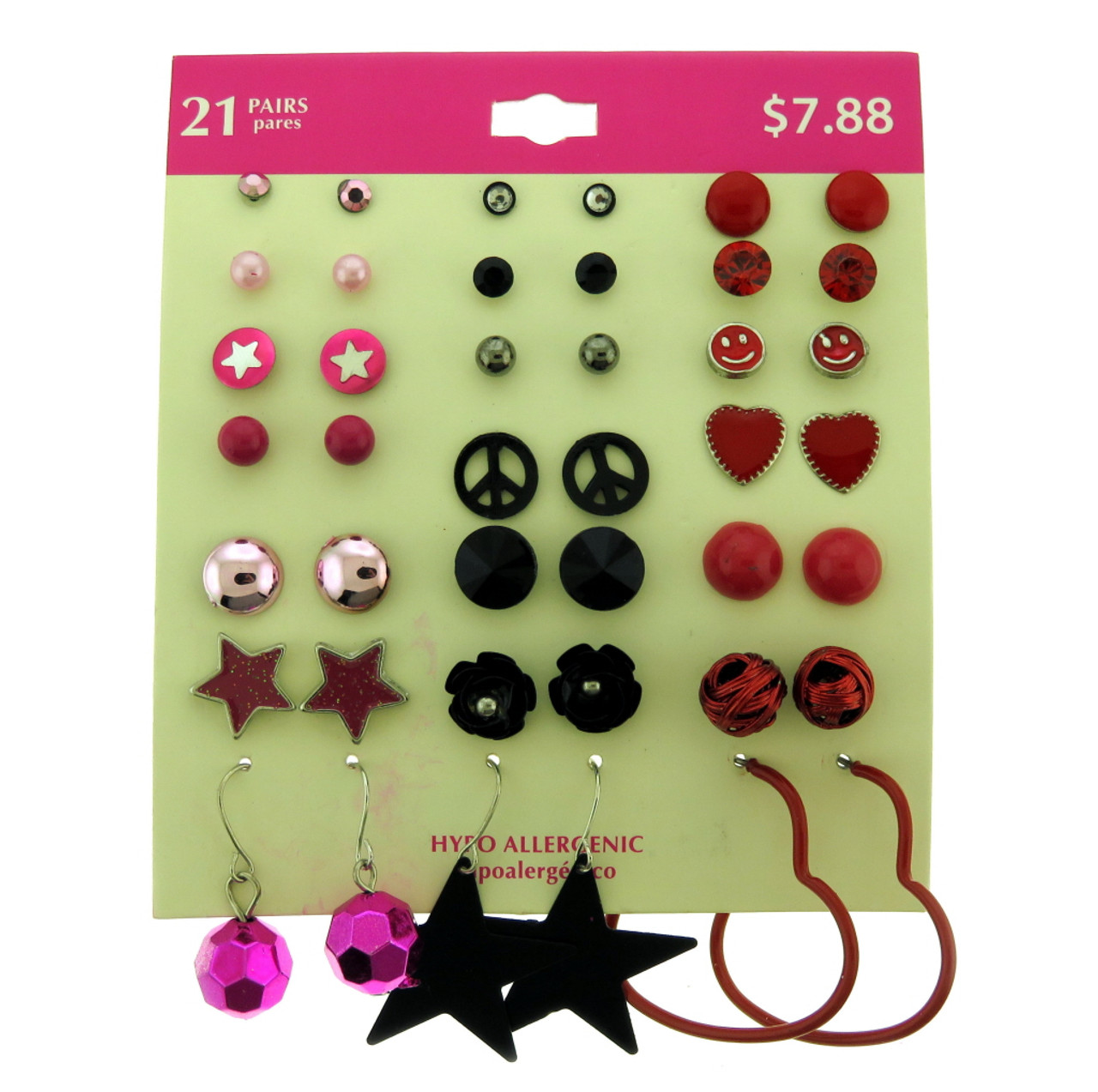 Set of 21 pairs of hypo allergenic earrings all are studs besides the three pairs in the bottom row ppme393