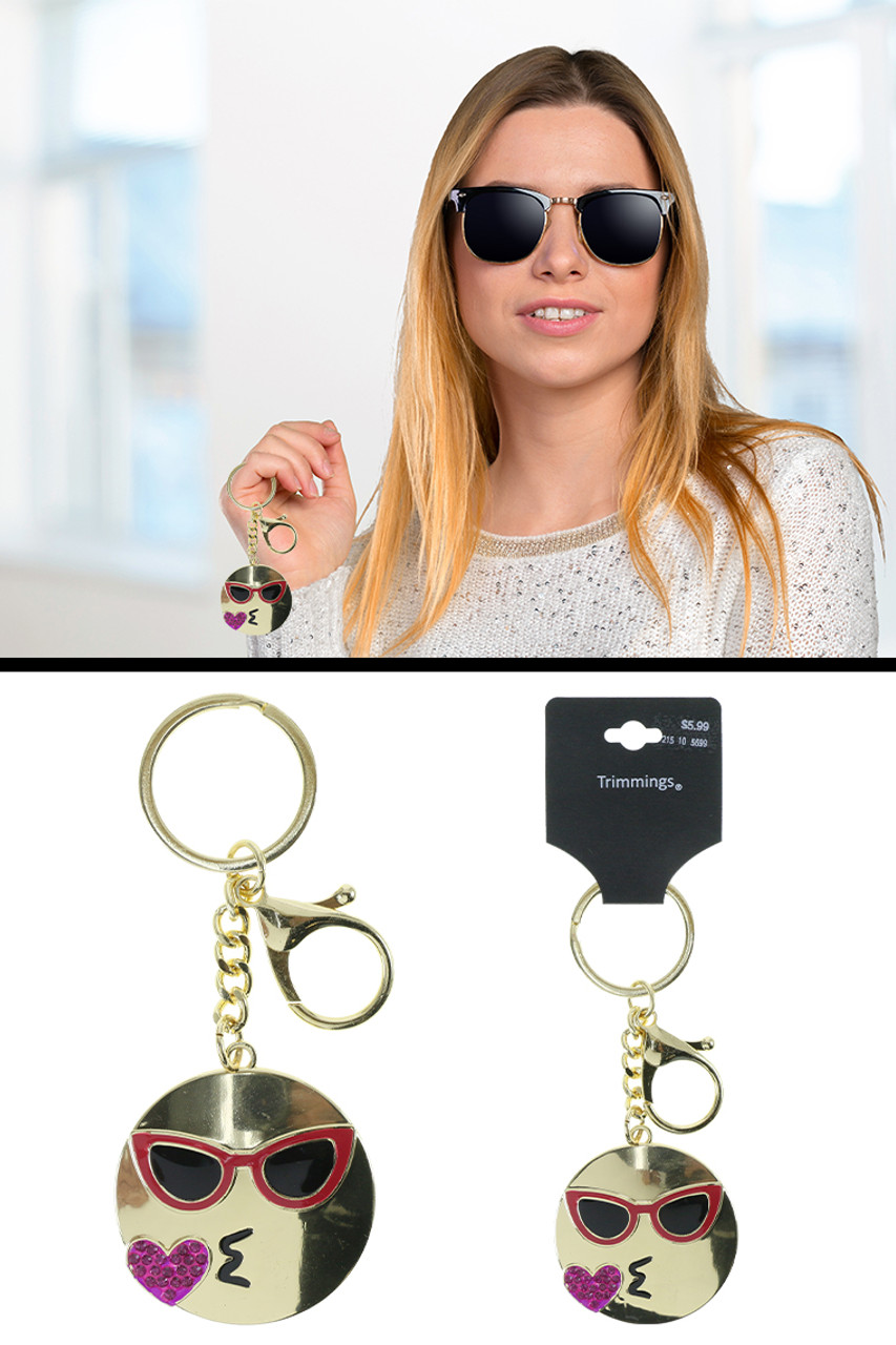 Heart Shaped Kiss Blowing Emoji Wearing Sunglasses Split-Ring Key Chain W/ Trigger Snap Gold KEKC6238