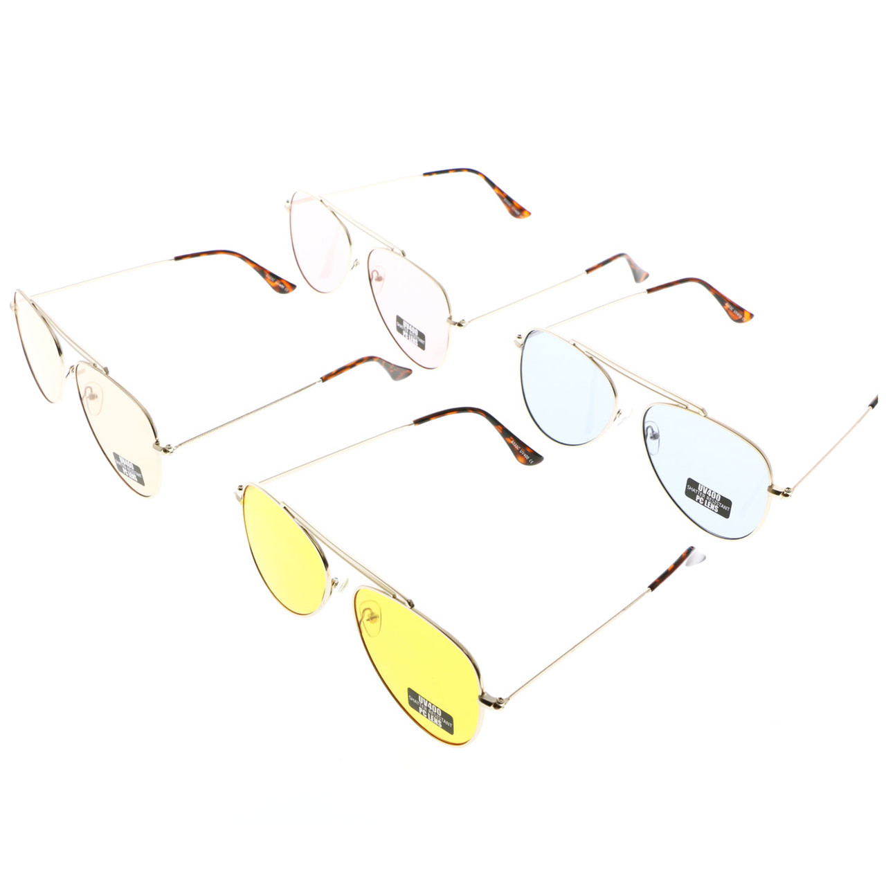 UV400 Aviators Assorted Sunglasses Shatter Resistant Polycarbonate Lens 26SG9333C