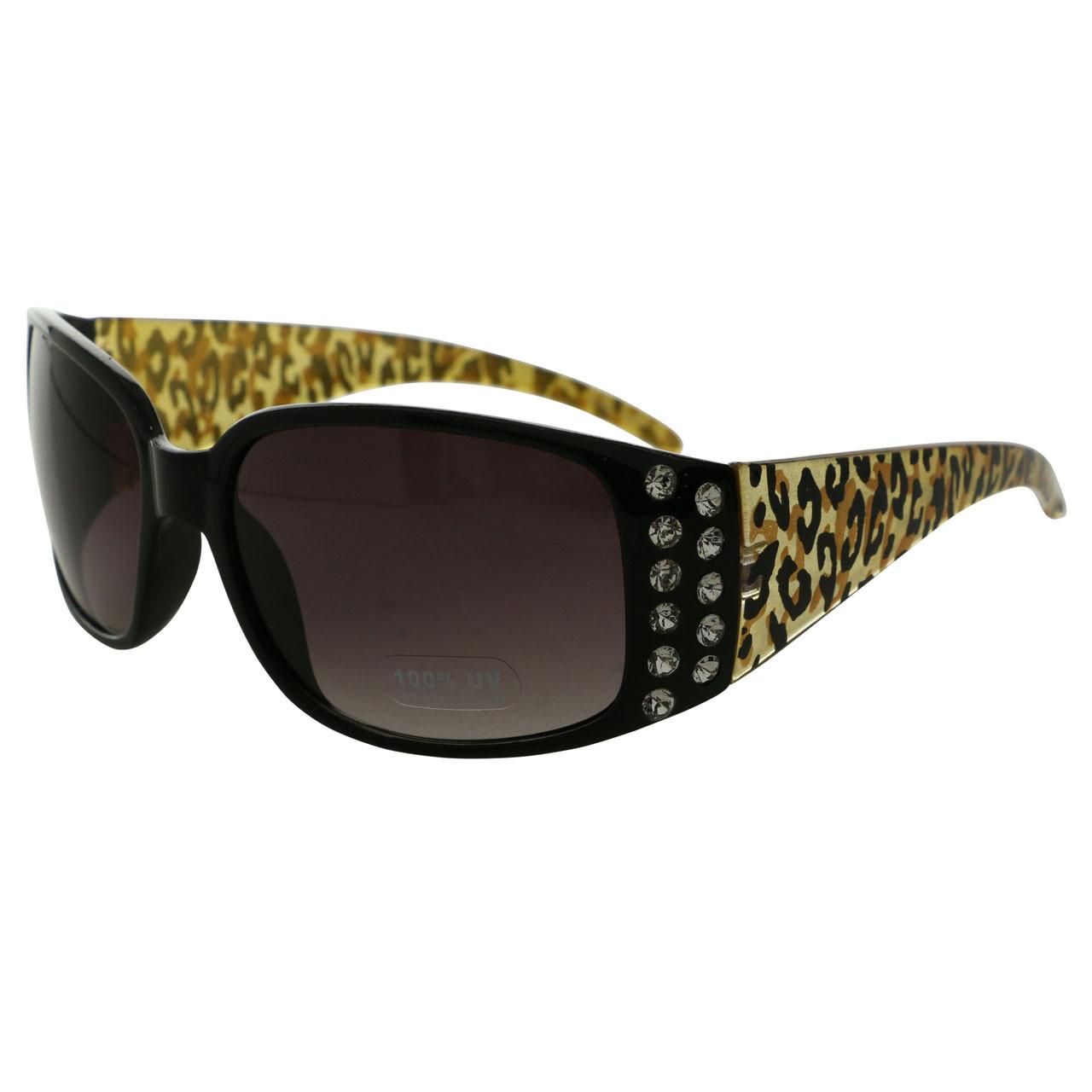 100% UV Protection Cheetah Print Rectangle Sunglasses 26SGCROWN