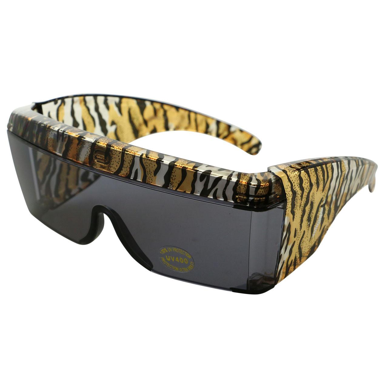 UV 400 Womens Tiger Print Cover-Up Sunglasses 18SG2710