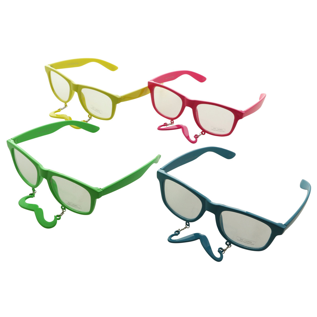 UV 400  Funny Mustache Party Sunglasses Polycarbonate Lens Assorted Colors 12SG731MS-CCL