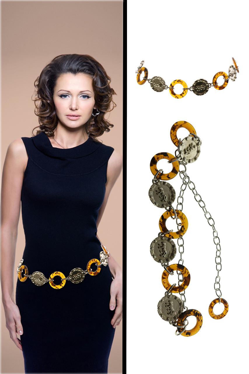 Silver Tone & Brown Fashion Chain Belt BLT888305S