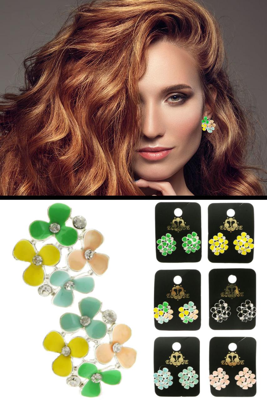 Colorful Flower Post Earrings E316C