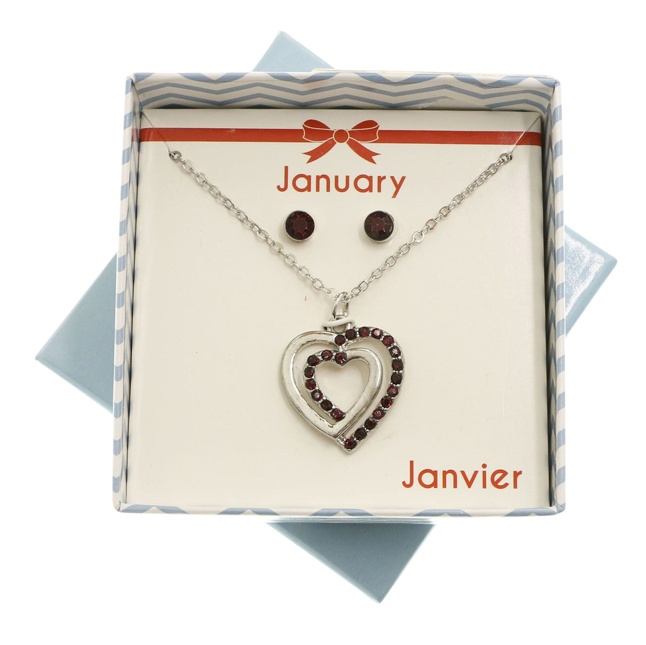 Gift Boxed Necklace & Earring Set with January Birthstones GBNE34
