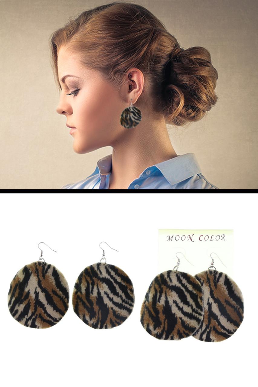 Velvet Animal Print Disc Dangle Earrings Assorted - E45534