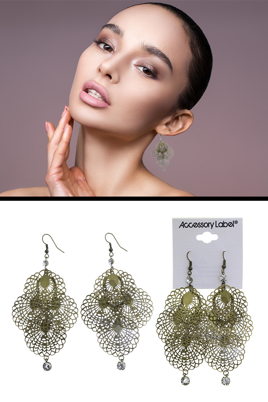 Antiqued Brass Filigreed Crystal Accent Chandelier Earrings Gold-Tone - E2590