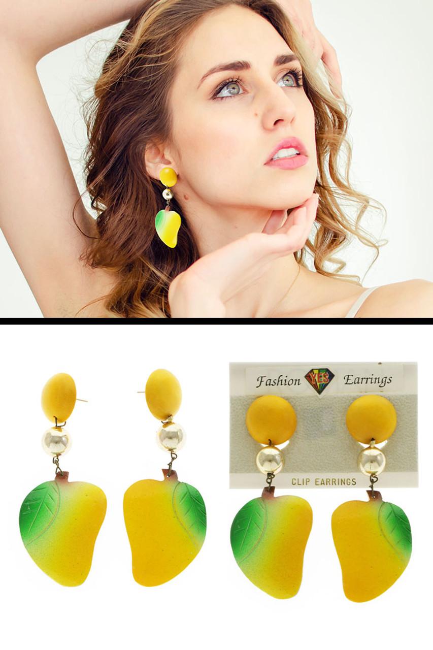 Fruit Leaves Dangle-Earrings Multi-Color 12 Per Package E162C