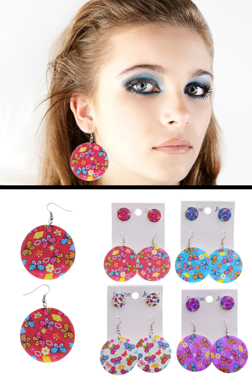 Two earring set with a pair of stud earrings and a pair of dangle earrings with a butterfly and flower print E3652C