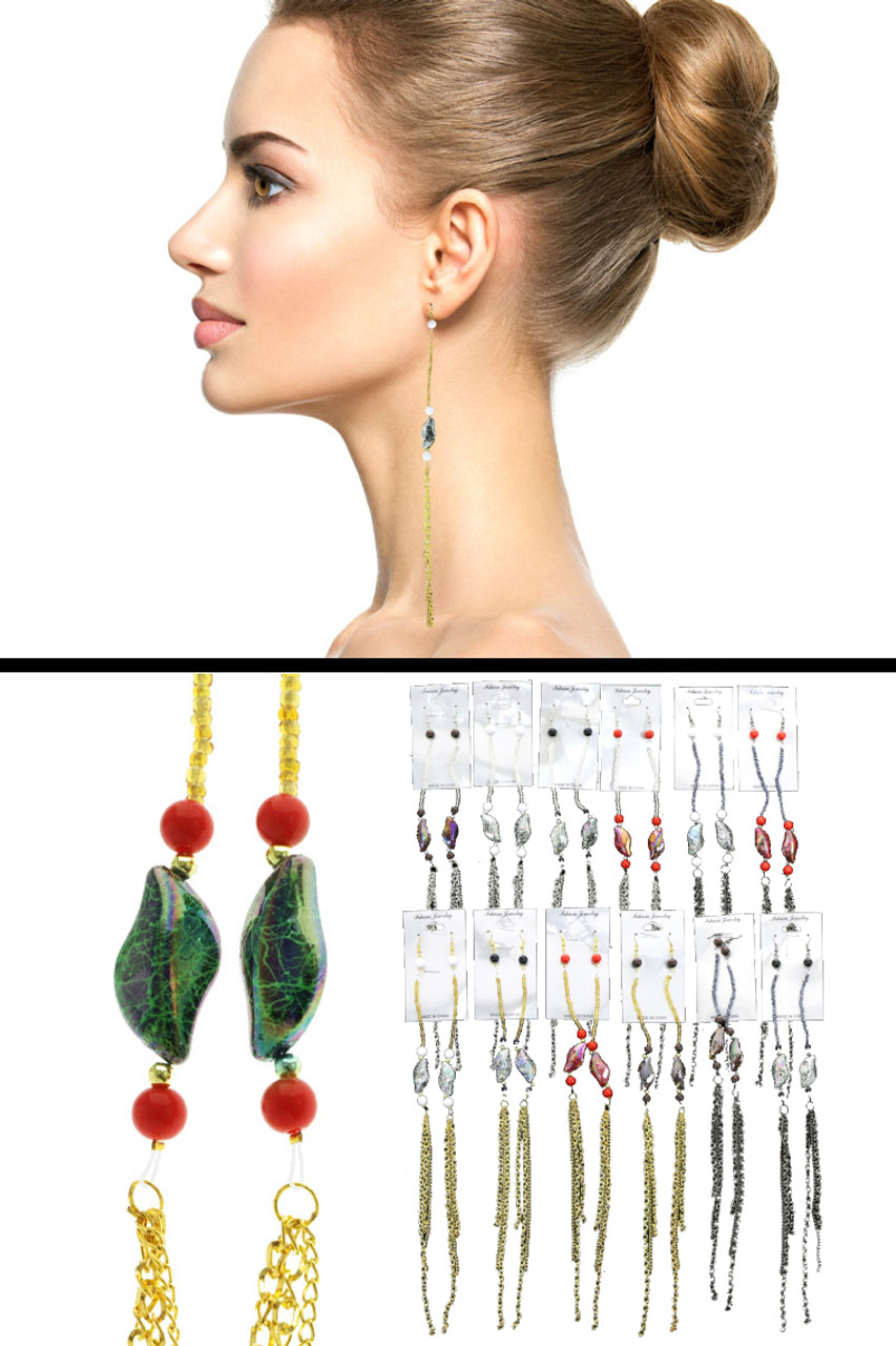 Tri-Tone & Multi-Color Metal Dangle-Earrings With Tassel Accents 12 Per Package E7032GR