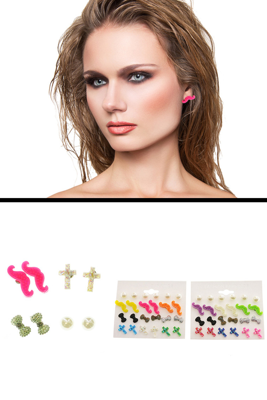 Mustache Cross AB Finish Multiple-Earring-Set With Bead Accents Multi-Color & White 12 Per Package ME1208C