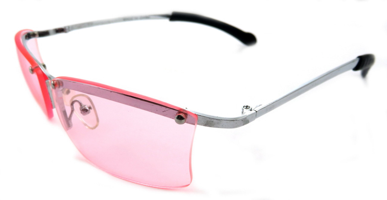 Rimless Pink Lens Sunglasses With Silver Tone Metal Bows 7SG1007