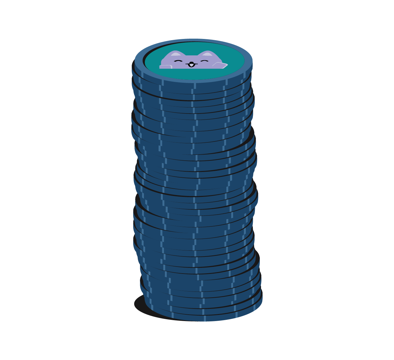 a stack of 40 tokens
