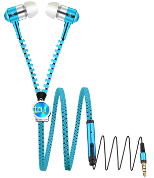 Zipper Earbud with custom METAL tag