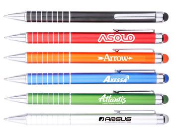 Metal Ball Point Pen w/ Colorful Stylus