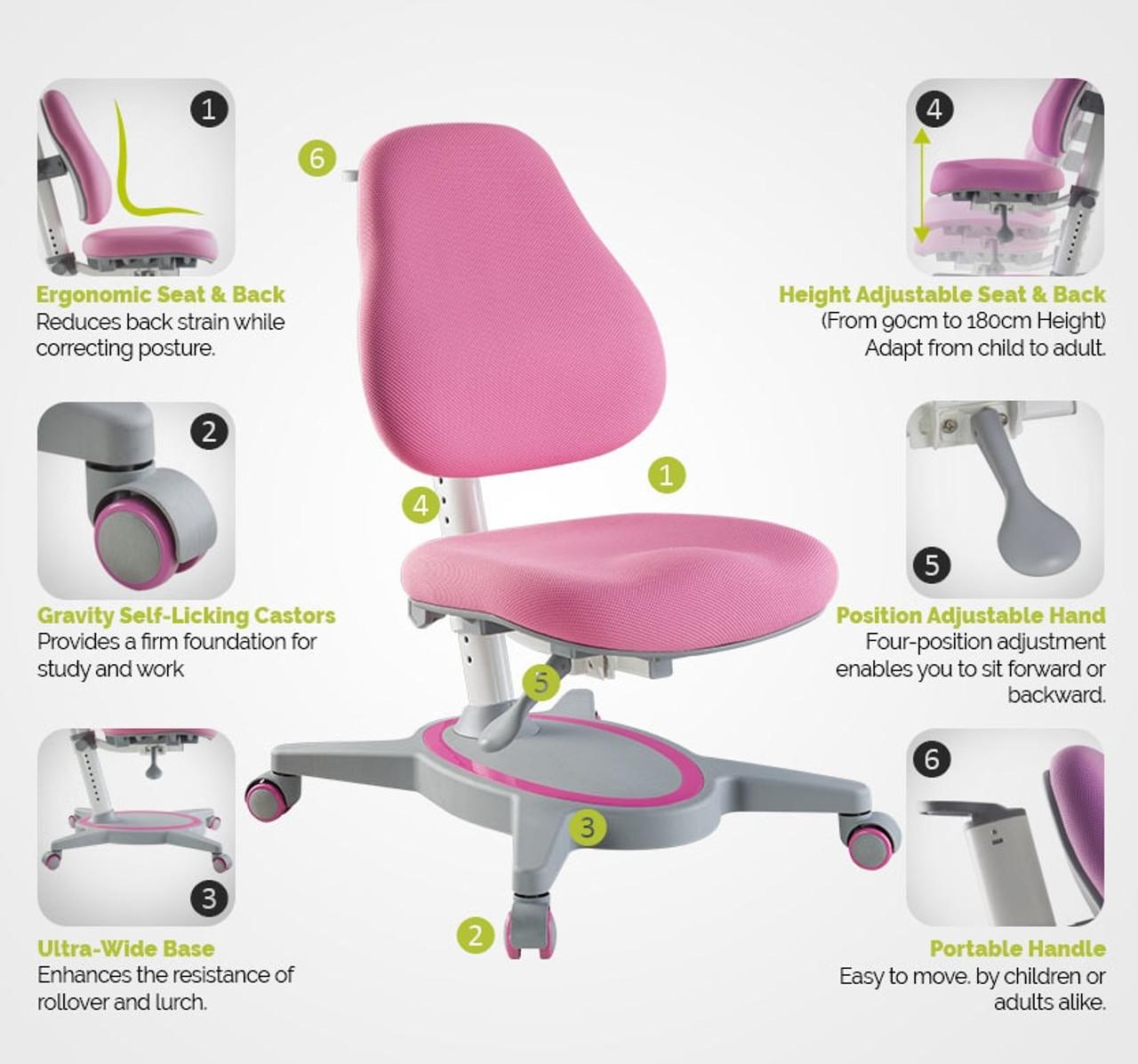 EFurnit Ergonomic Teen Desk Chair, Height Adjustable Desk Chair- Full-Backrest Series , pink, blue