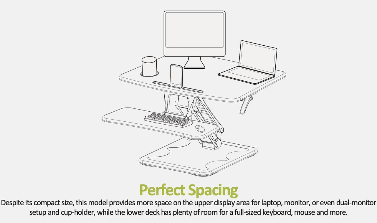 EFurnit Standing Desk Riser/Converter with Mug Holder - Convert your Desk to a Height Adjustable Sit Stand Workstation- Series 131- black and white