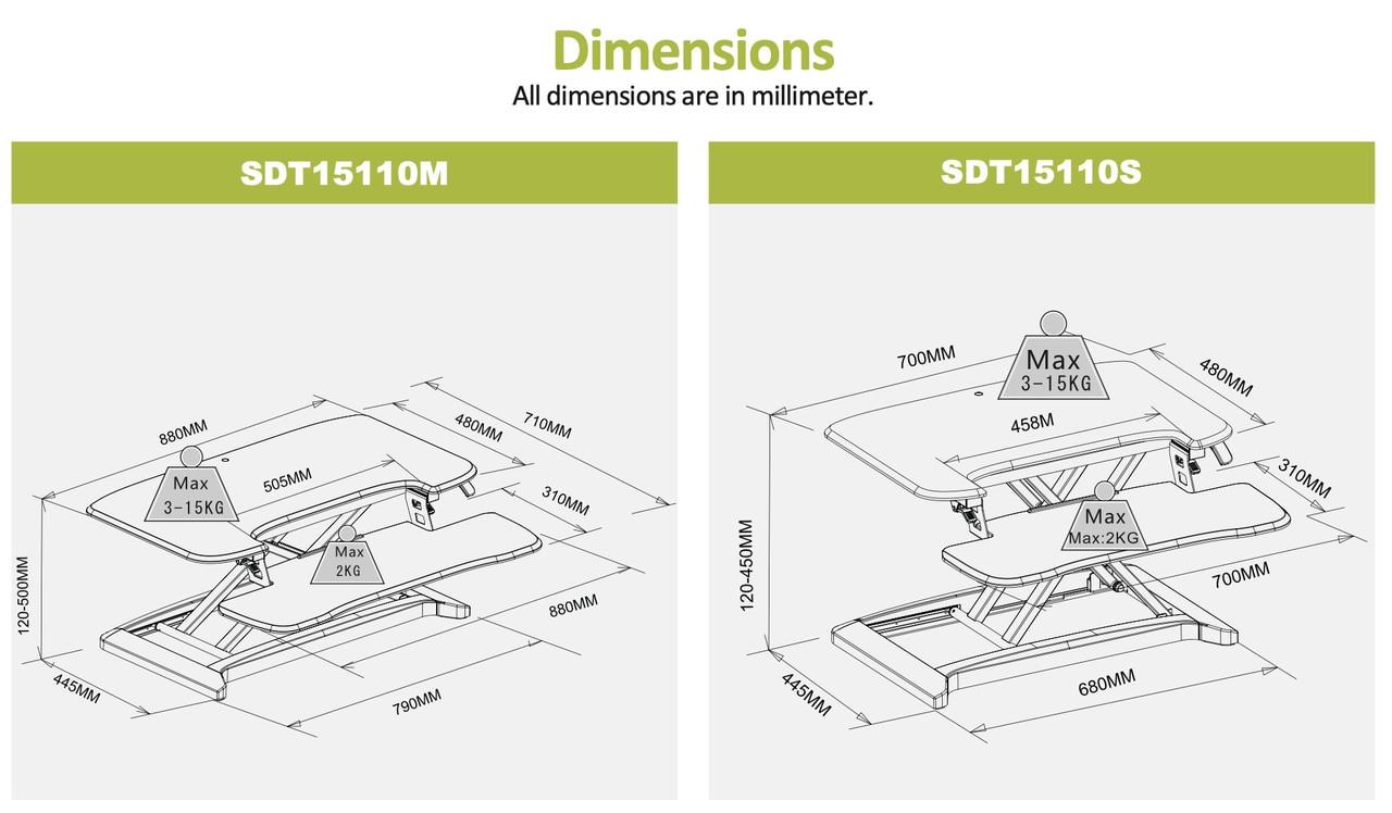 EFurnit Standing Desk Riser/Converter - Convert your Desk to a Height Adjustable Sit Stand Workstation- Series 151