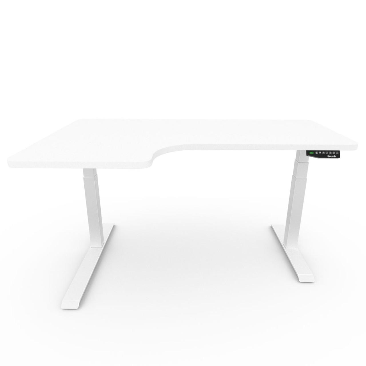 EFurnit Alpine Standing Corner Desk- Home office Ergonomic Height adjustable Electric Sit/Stand desk, Dual motor,White top ,white  frame, smart