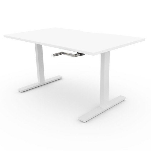 Home office Ergonomic Height adjustable Manual Sit/Stand desk, with Hand crank, white
