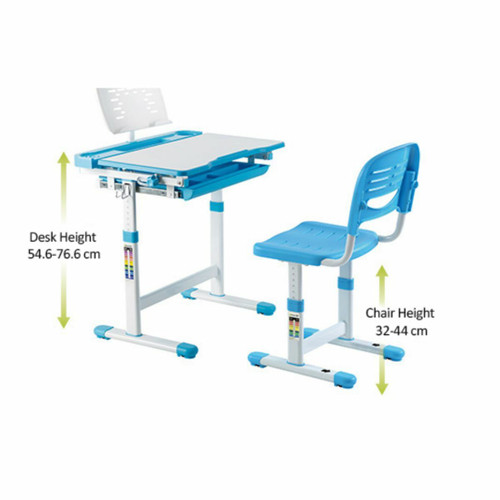 EFurnit Height Adjustable Children's Table and Chair Set , Ergonomic Table & Chair set for Kids- Jupiter Series ,blue,grey,pink