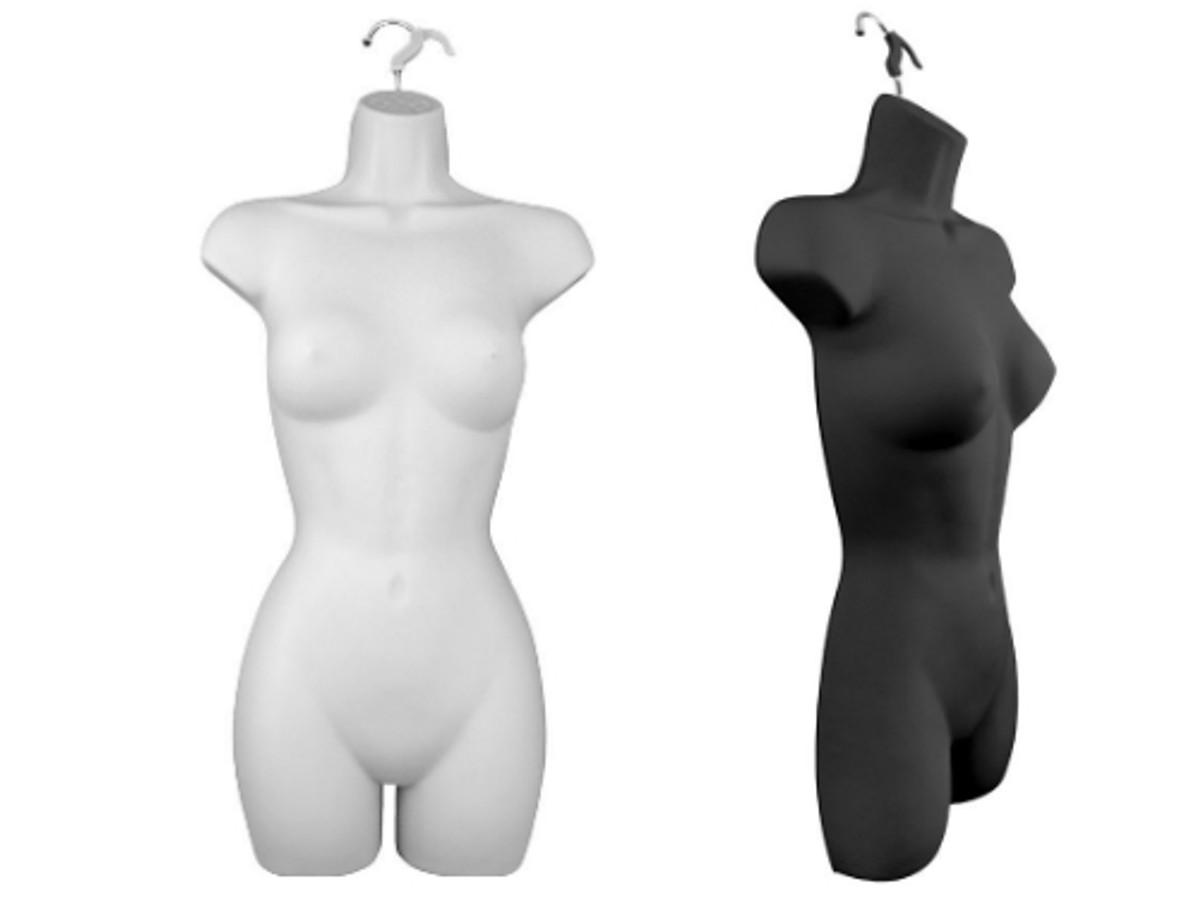 Black Half Female Hanging Torso Form