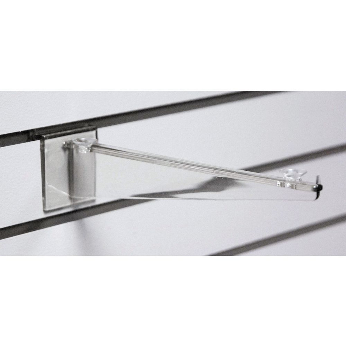 Slatwall 12 Clear Polycarbonate Shelf Bracket With Rubber Rest