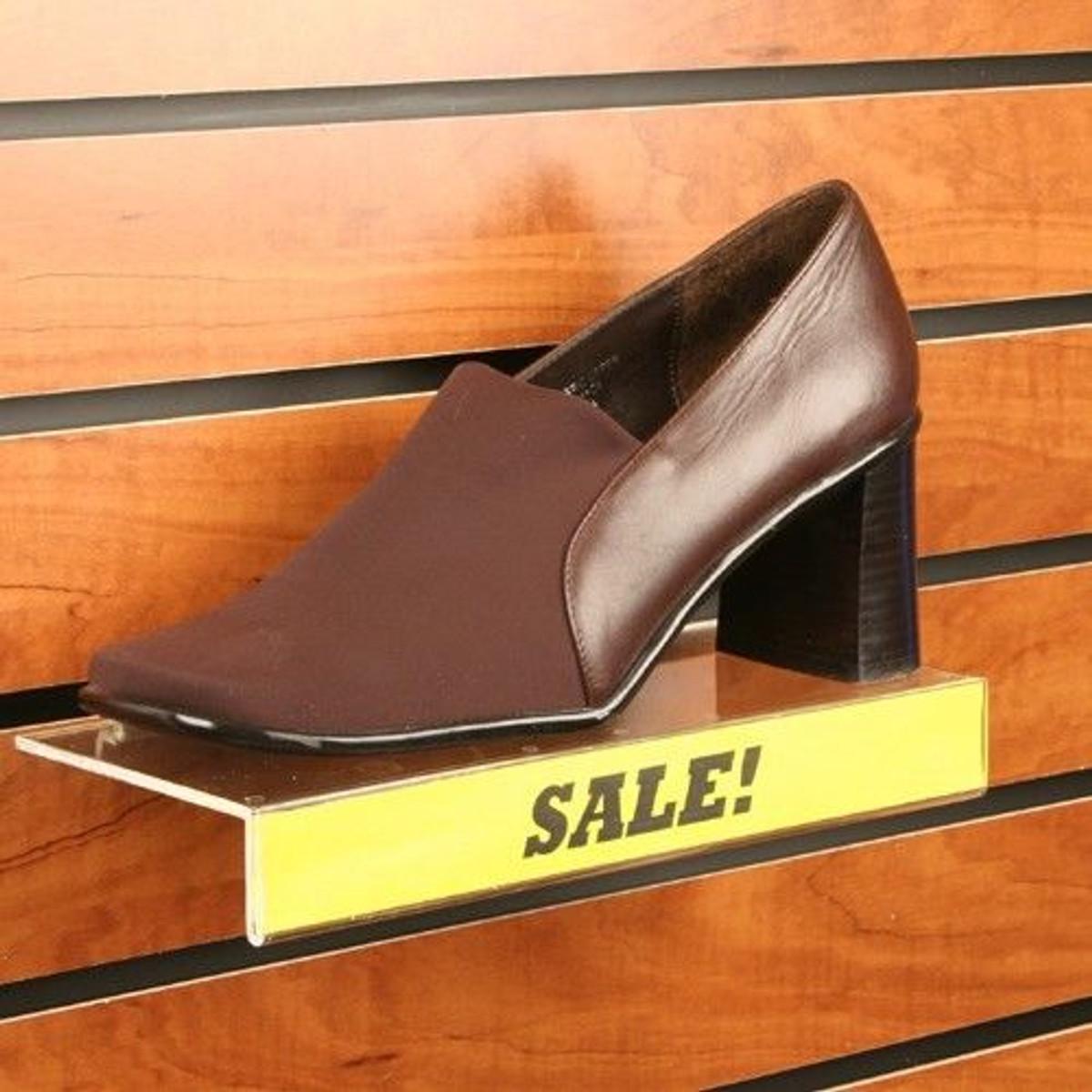 "Gridwall Grid Panel 4/""x10/"" Flat Acrylic Shoe Shelf 10 Pieces"