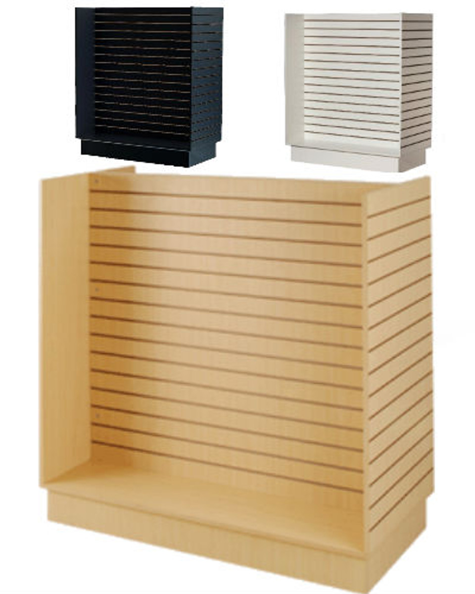 Retails Maple Finished Slatwall Tower with Rolling Base 24l X 24w X 54h