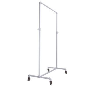 41 Pipe Clothing Rack  Adjustable Height Gloss White
