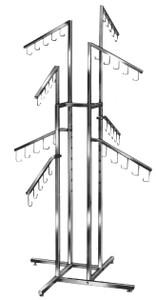 4 Way Handbag Display Rack | 8 Slanted Arms | Chrome