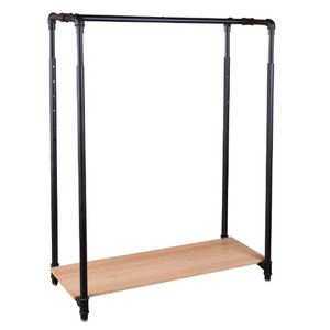 42 Pipeline Clothing Rack with Bottom Shelf - Matte Black
