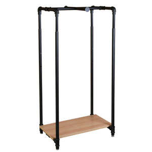 28 Pipe Clothing Rack with Bottom Shelf & Cross Bar - Matte Black