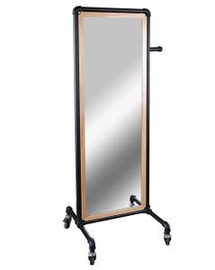 Pipeline Frame Rolling Floor Mirror  60H x 20W  MATTE BLACK