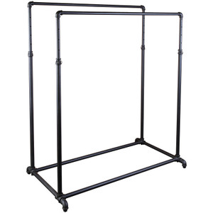 50 Double Rail Pipeline Clothing Rack – Matt Black
