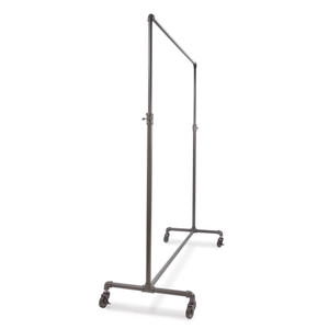 60 Wide Pipeline Adjustable Height Rolling Clothing Ballet Rack  GREY
