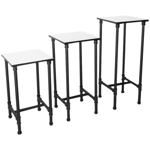 Set of 3 Pipeline Nesting Tower Display Table  MATT BLACK
