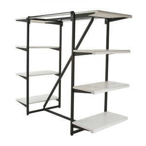 Double Bar & Eight Shelves Combination Clothing Rack | White Shelves
