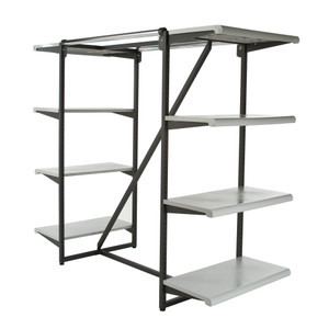 Double Bar & Eight Shelves Combination Clothing Rack | Grey Shelves