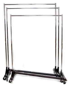 5ft Adjustable Height Commercial Clothing Z Racks | BLACK Base