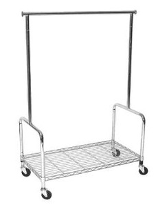 Rolling Clothing Rack with Bottom Shelf | Chrome