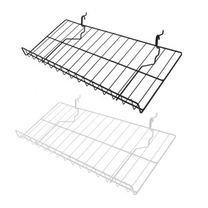 10D x 23W Gridwall Slanted Shelf | Black or White