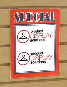 "11""H X 7""W Slatwall Acrylic Sign Holder"