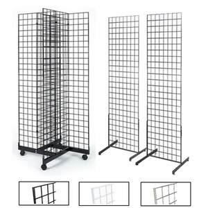 Gridwall 2 Sided Fixture and 4 Sided Rolling Display Fixtures