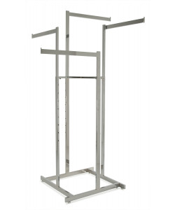 "Chrome Hi-Capacity 4 Way Clothing Rack With (4) 22"" L Straight Display Arms"