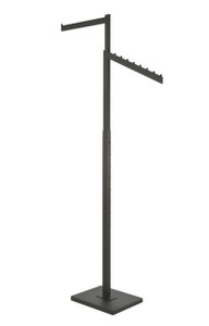 2 Way Retail Display Fixture with Straight and Slanted Display Arms | BLACK