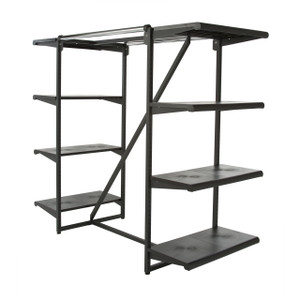 Double Bar & Eight Shelves Combination Clothing Rack | Black Shelves