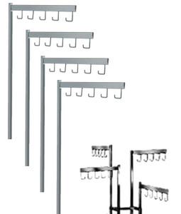 Straight Chrome Replacement arms with 5J hooks for 2 way and 4 way racks