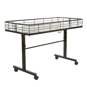 Folding Dump Bin Table on Wheels | Black